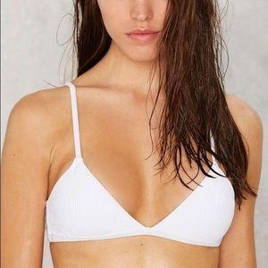 Nasty Gal White Ribbed Bikini Top Bralette